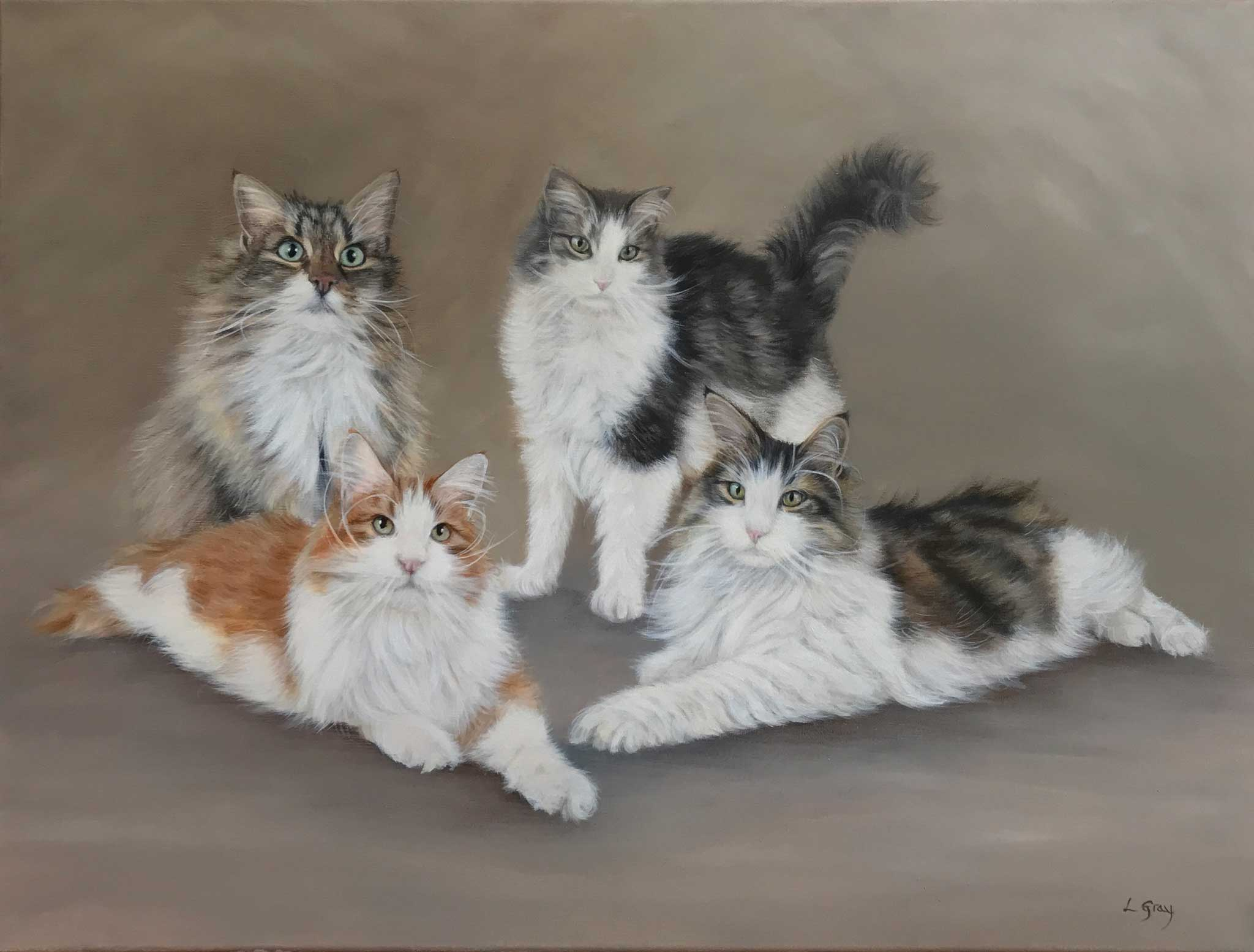 cat portraits in oils
