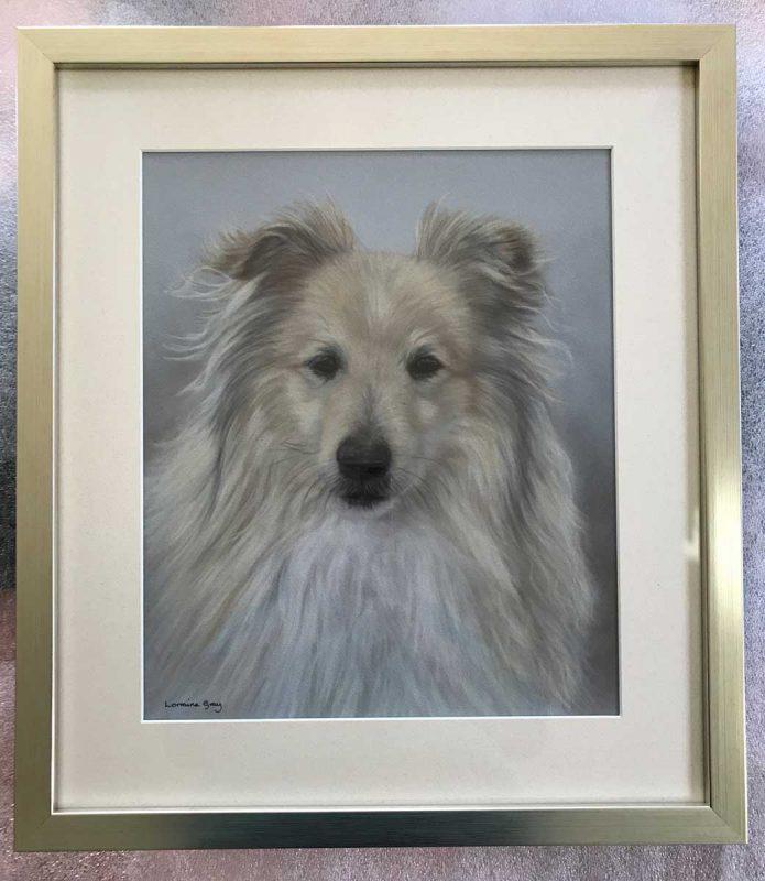 Framed dog portrait